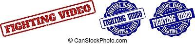 FIGHTING VIDEO Grunge Stamp Seals