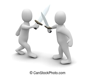 Fighting with swords. 3d rendered illustration isolated on...