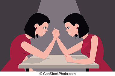Fighting with yourself - Woman arm wrestling with herself,...