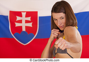 fighting woman over slovakian flag