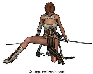Fighting woman samurai with katana
