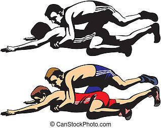 fighting wrestlers - freestyle wrestling and greco-roman...