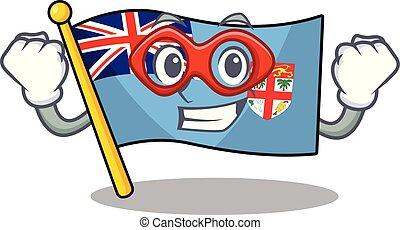figi, eroe, bandiera, cartone animato, super, forma