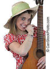 figlarny, gitara, dziewczyna, dzierżawa
