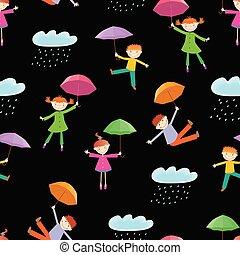 figlarny, próbka, seamless, parasole, dzieciaki