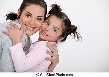 figlia, abbracciare, lei, madre