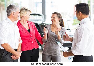 figlia, automobile, genitori, nuovo, ricevimento, felice
