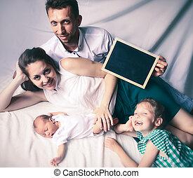 figlia, automobile, padre, augurio, presa a terra, family:, felice