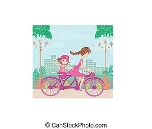 figlia, biking, madre
