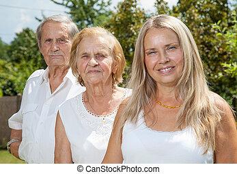 figlia, coppia, loro, anziano