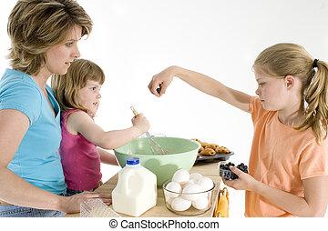 figlia, cottura, madre