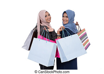 figlia, felice, shopping, insieme, madre