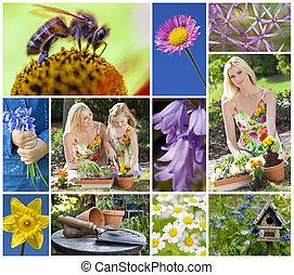 figlia, giardino, fotomontaggio, primavera, madre, giardinaggio