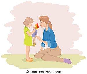 figlia, gioco, madre