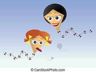 figlia, -, illustrazione, draghi, carta, madre