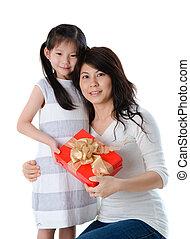 figlia, lei, madre, giapponese, giovane, madre, durante, giorno