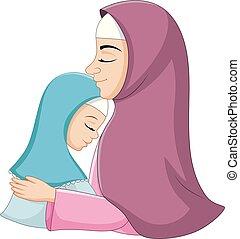 figlia, lei, musulmano, abbracciare, madre, felice