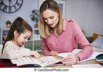 figlia, lei, porzione, compito, madre