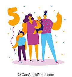 figlia, mamme, due, figlio, compleanno, celebrare