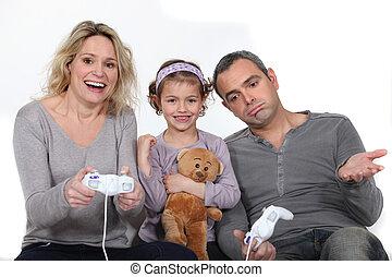figlia, osservare, lei, genitori, gioco, uno, gioco video