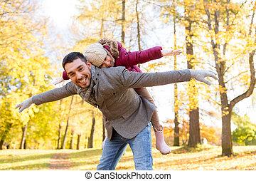figlia, padre, parco, autunno, gioco, felice
