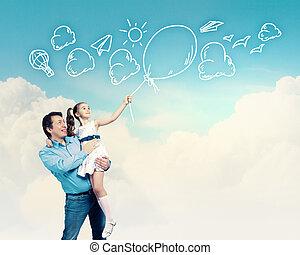 figlia, padre, tenere mani