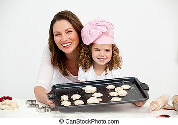 figlia, piastra, esposizione, biscotti, madre, felice