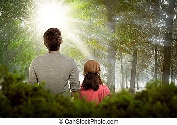 figlia, rilassante, padre, indietro, insieme, vista