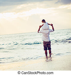 figlia, sano, padre, insieme, tramonto, divertimento, stile...