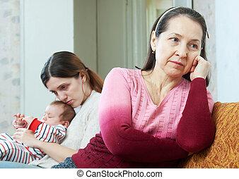 figlia, secondo, maturo, madre, bambino, disputa