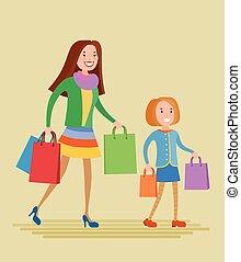 figlia, shopping, madre
