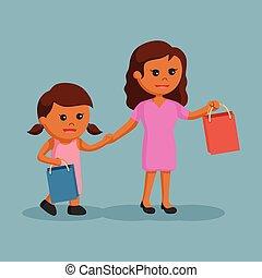 figlia, shopping, mamma, insieme, africano