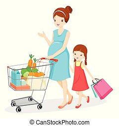 figlia, shopping, mamma, insieme, incinta