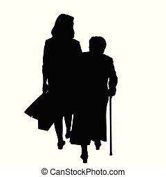 figlia, silhouette, adulto, anziano, madre