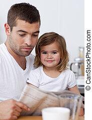 figlia, suo, giornale, lettura, padre