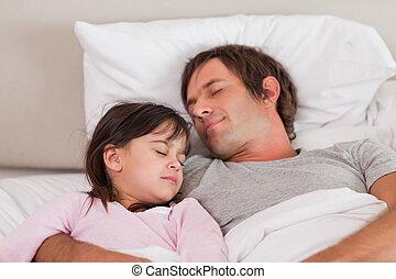 figlia, suo, padre, in pausa