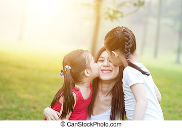figlie, baciare, mother.
