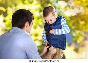 figlio, padre, natura