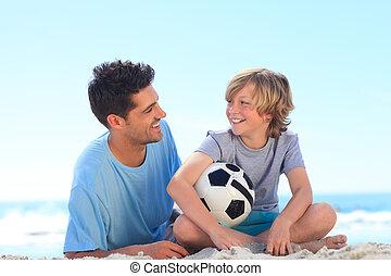 figlio, padre, suo, palla