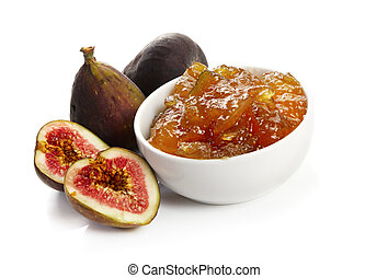 Figs and Fig Jam - Whole and cut figs, with dish of fig jam...