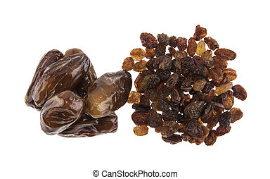 figs and raisins isolated on white background