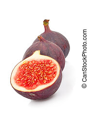 Fresh ripe figs isolated on white, food photo