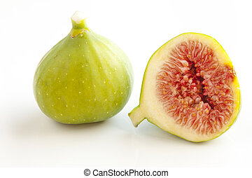 Figs on white background - Fresh green figs on white...