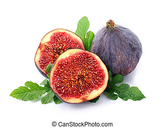 Figs with leaves on the white background.