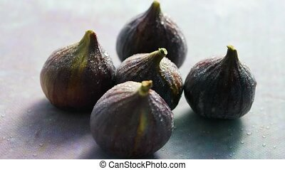 Figs with water drops - From above closeup shot of whole...