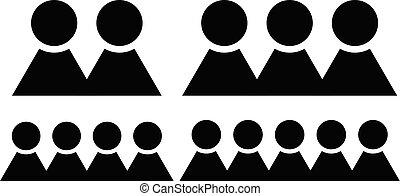 figuers, groupe, symbole., différent, caractères, membres, nombre