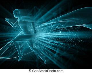 figur, abstrakt, rennender , techno, hintergrund, mann, 3d