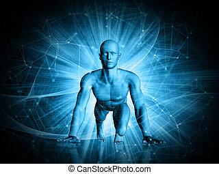 figur, abstrakt, start, rennender , techno, hintergrund, position, mann, 3d