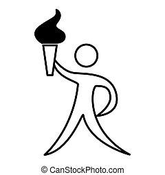 figur, atlet, begfakkel, olimpic, menneske, ikon