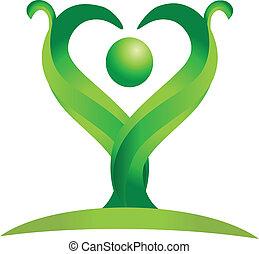 figur, av, grön, natur, logo, vektor
